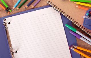 school supplies; binder & pens